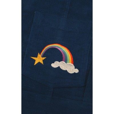Foto van Jurk pinafore, blauw ribcord regenboog borduursel