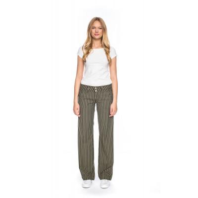Foto van ATO Berlin, pantalon Lilia, olijfgroen beige gestreept