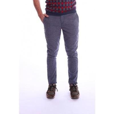 Pantalon Dino blauw wit