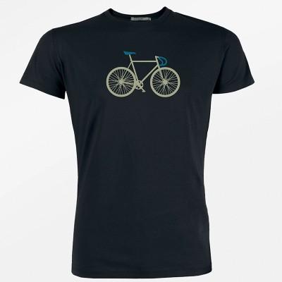 Foto van Green Bomb - T-shirt, Bike Two, bio katoen, zwart met racefiets