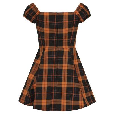 Foto van Collectif mini jurk Dolores Pumpkin, oranje zwarte tartan