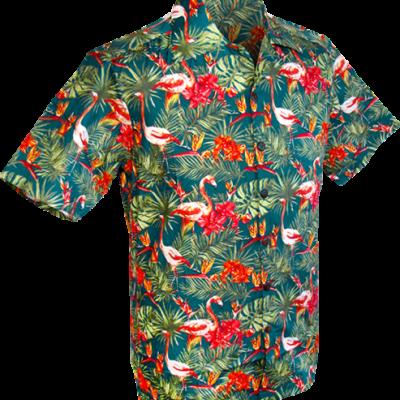 Foto van Overhemd korte mouw, Flamingos jungle petrol groen