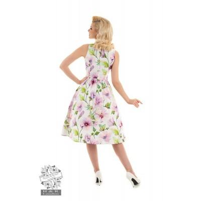 Foto van Hearts & Roses - Swingjurk Gloria, met bloemenprint, wit