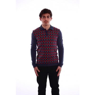 Polo Enne met lange mouw, blauw en rood jaquardpatroon