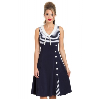 Foto van Jurk Vera, nautical flared sailor navy wit gestreept