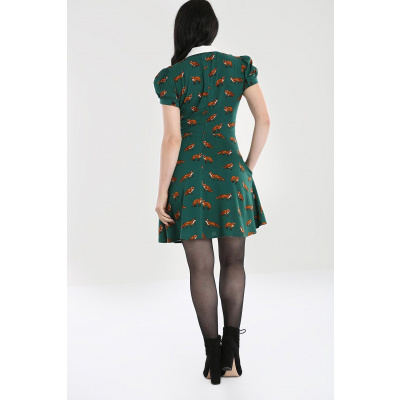 Foto van Hell Bunny | Groene jurk Vixey met vosjes print