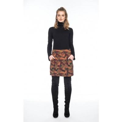 Foto van Korte Rok Hedda met steekzakken, olijf bruin patroon