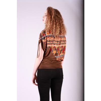 Foto van Shirt top Mona bruin oranje multicolour