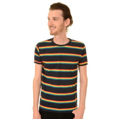 T-shirt, Navy retro rainbow gestreept