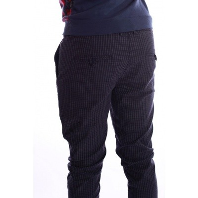 Foto van Pantalon Dino, blauw grijs geruit
