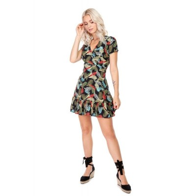 Foto van Jurk Stacy Tropical Floral, bladerenprint multikleur