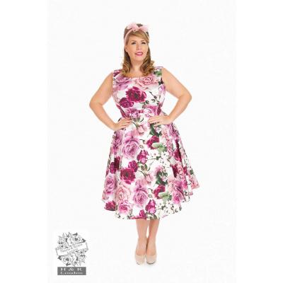 Hearts & Roses | Alice Queensize, swing jurk met roze rozen