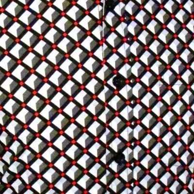 Foto van Overhemd retro, 3 d grid grey
