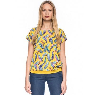 Ato-Berlin - Shirt Leo, geel met bonte veren print