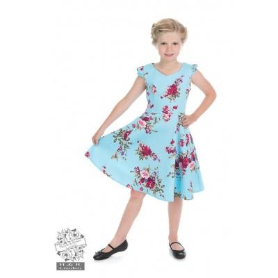 Foto van Kinderjurk, Royal ballet baby blue met bloemen