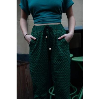 Foto van Sportbroek Fips, groen zwart Jaquard patroon