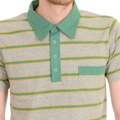 Foto van Polo 60's retro mod asgrijs met geel en groene strepen