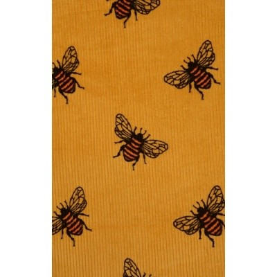 Foto van Jurk pinafore, geel ribcord bijen allover print