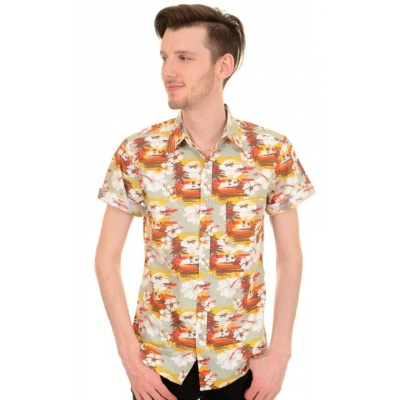 Overhemd met korte mouw retro sunset hawaiian