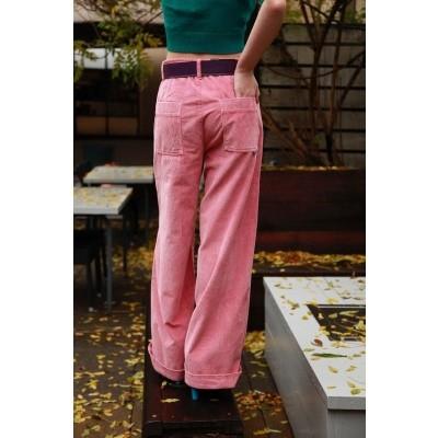 Foto van Broek Lacy, roze ribcord met wijde pijpen