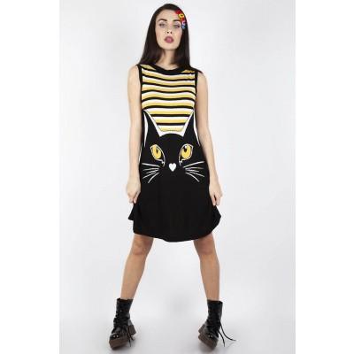 Foto van Jurk Telepathic Cat, zwart geel