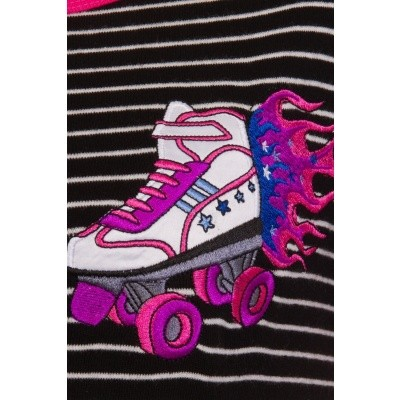 Foto van T-shirt rollerskate flames patches