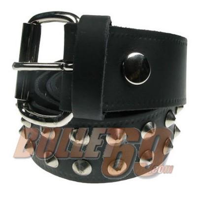 Bullet69 - Leren riem, 38mm - zwart met twee rijen zilverkleurige conical studs