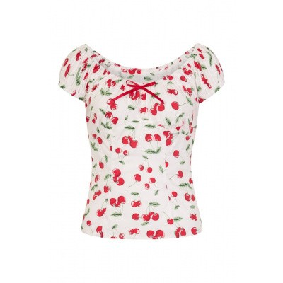 Top Sweetie 50's, wit met kersenprint