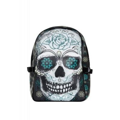 Foto van Rugtas, Blue floral skull