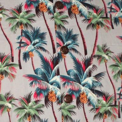 Foto van Chenaski | Overhemd korte mouw, Palm Trees, grijs