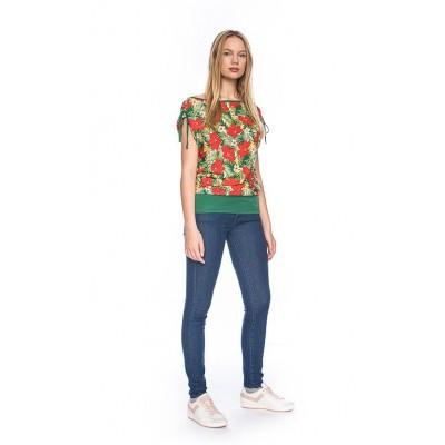 Foto van Ato Berlin, T-shirt Mona met tropische bloemen print