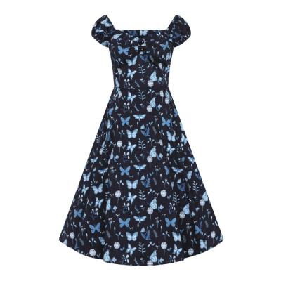 Foto van Collectif | Jurk Dolores Midnight Butterfly zwart blauw