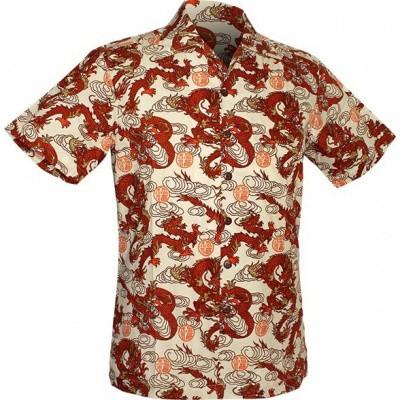Foto van Chenaski | Overhemd korte mouw, Dragon print, creme orange