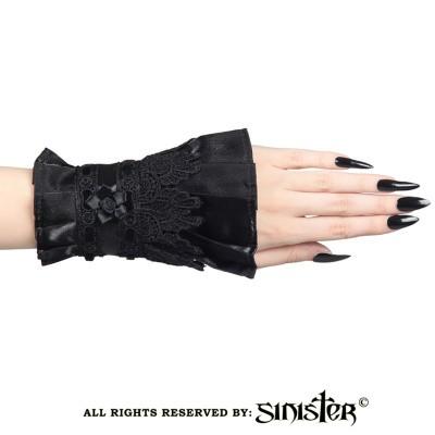 Foto van Sinister - Manchetjes Nora, fluweel en zwart kant met satijnen bloem