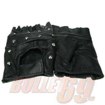 Bullet69 - Leren handschoenen met conical studs