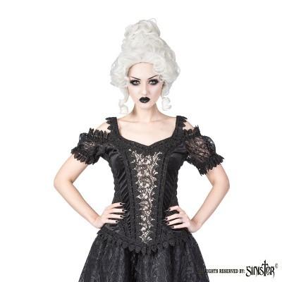Foto van Top Olivia, zwart fluweel met ivory satijn en pofmouwen