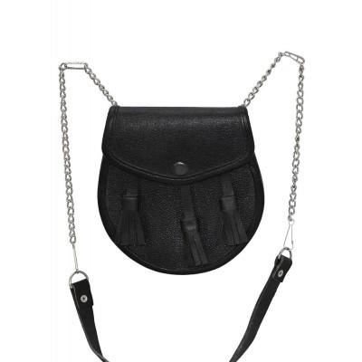 Foto van Leren kilt tas, zwart met relief