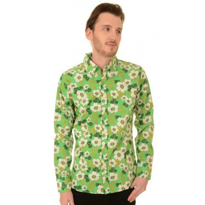 Foto van Overhemd retro, floral poppy button down groen