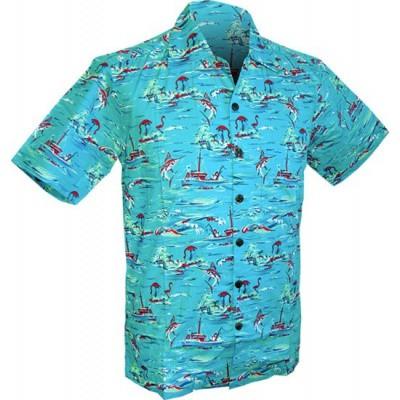 Foto van Chenaski | Overhemd korte mouw, Ocean view, turquoise