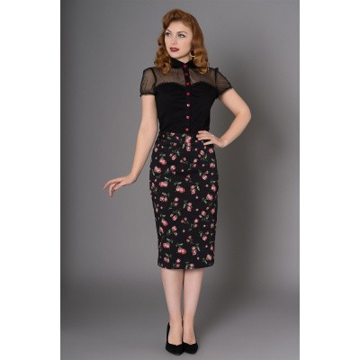Kokerrok Natasha, zwart met roze rode tulpen print