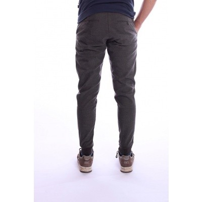 Foto van Pantalon met enkel boorden, grijs zwart visgraat