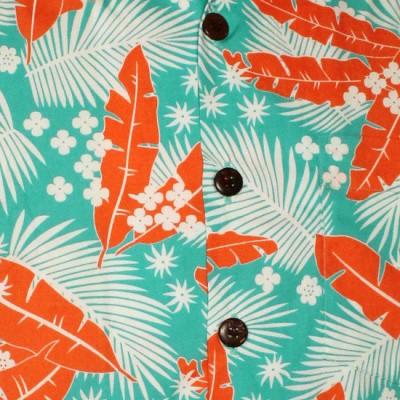 Foto van Chenaski | Overhemd korte mouw, Aloha, creme turquoise orange