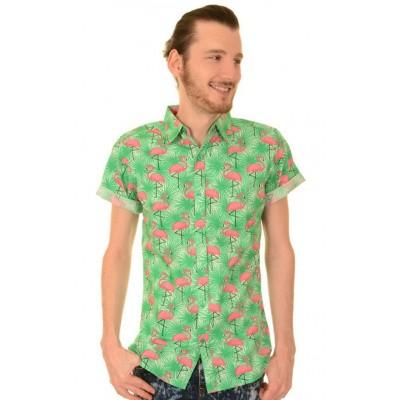 Overhemd korte mouw, tropical flamingo