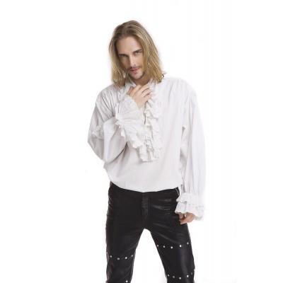 Foto van Overhemd wit gothic pirate stijl met geborduurde roezels