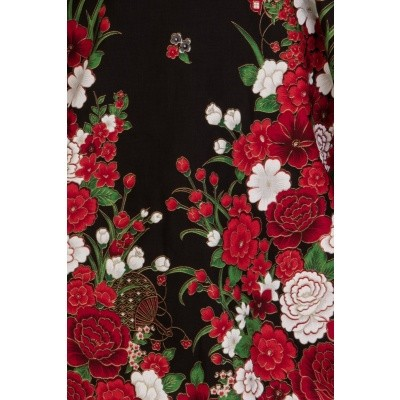 Foto van Jurk met bloezende top, rode bloemen