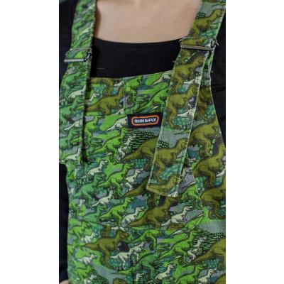 Foto van Run & Fly | Groene tuinbroek met camouflage dino print, unisex