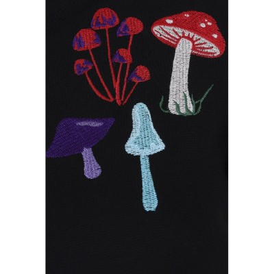 Foto van Cardigan Jessie, Mushrooms, zwart met paddestoelen