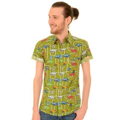 Foto van Overhemd korte mouw, groen met oldtimer print