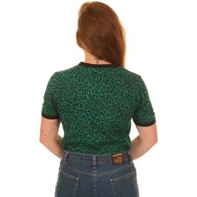 Foto van T-shirt, luipaard print, teal