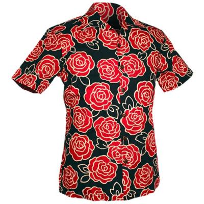 Foto van Chenaski | Overhemd korte mouw, Outlined Rozen navy, roze